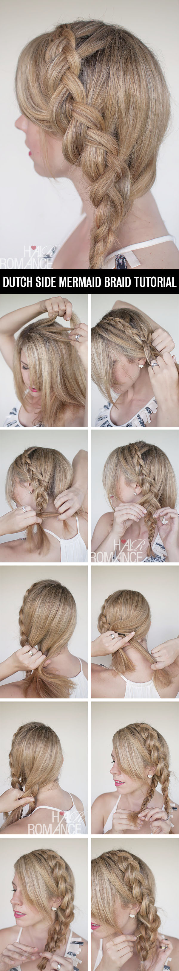 Hair Romance - a Dutch mermaid side braid hairstyle tutorial