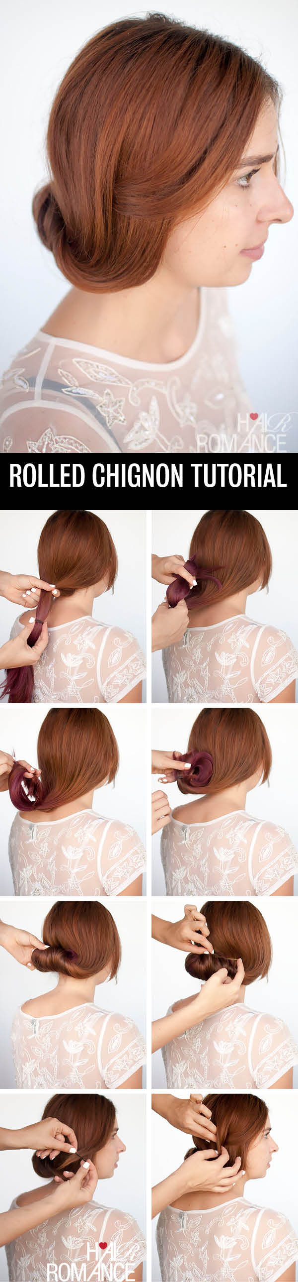 Hair Romance - Rolled chignon hairstyle tutorial