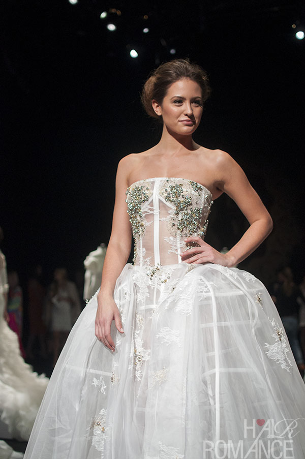 Hair Romance - Scenes from MBFWA 2014 Day 3 - Jesinta Campbell in a couture wedding gown at Lan Yu