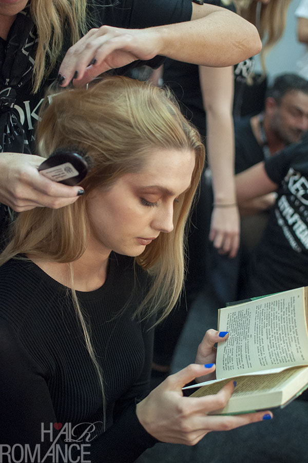 Hair Romance - Scenes from MBFWA 2014 Day 3 - Models reading at Jayson Brundson