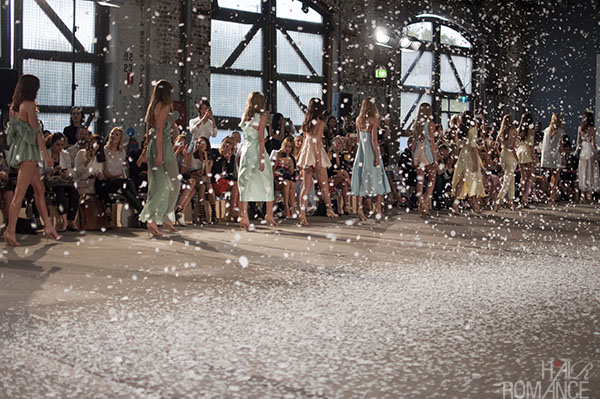 Hair Romance - Scenes from MBFWA 2014 Day 4 - Paper snow at the final walk at Alice McCall