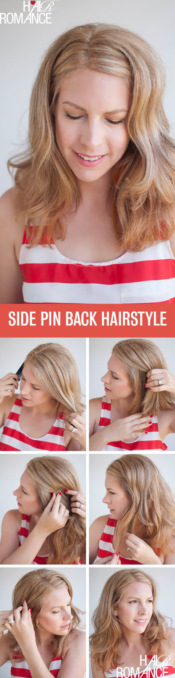 Hair Romance - Side pinned back hairstyle tutorial