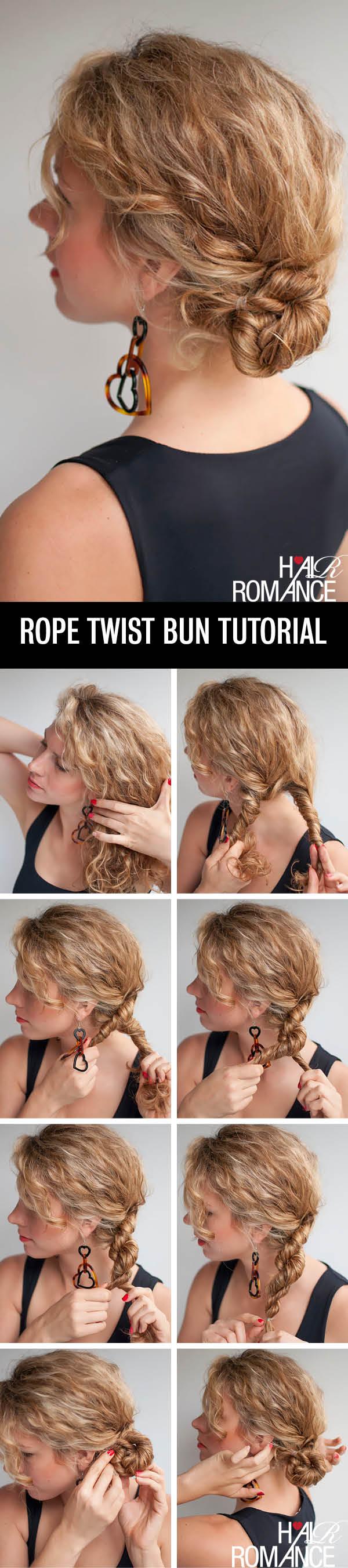 Hair Romance - rope twist braid bun hairstyle tutorial for curly hair