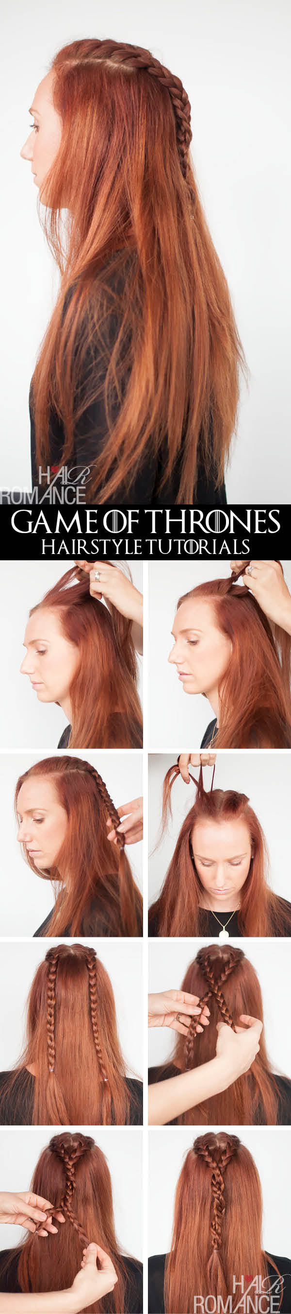 Hair Romance - Game of Thrones - hairstyle tutorials - Sansa Stark braids