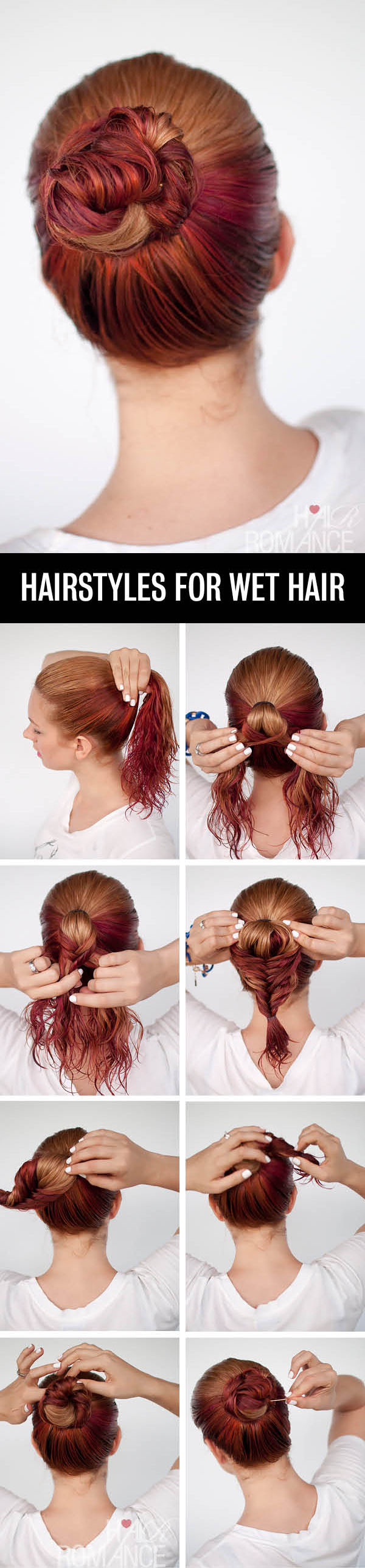 Hair Romance - Hairstyle tutorials for wet hair - the fishtail bun