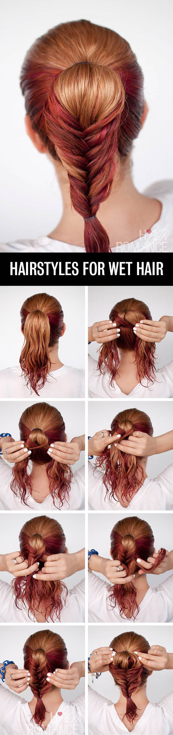 Hair Romance - Hairstyle tutorials for wet hair - the fishtail ponytail