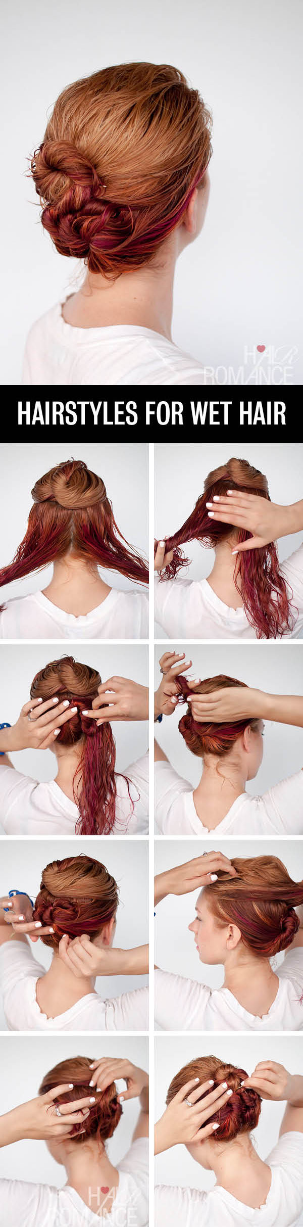 Hair Romance - Hairstyle tutorials for wet hair - the loose triple bun