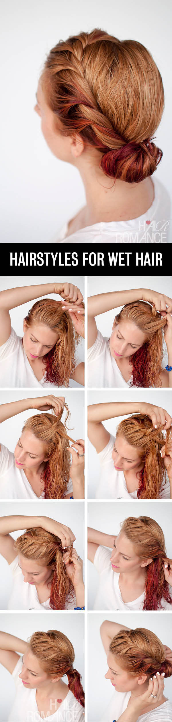 Hair Romance - Hairstyle tutorials for wet hair - the side twist bun