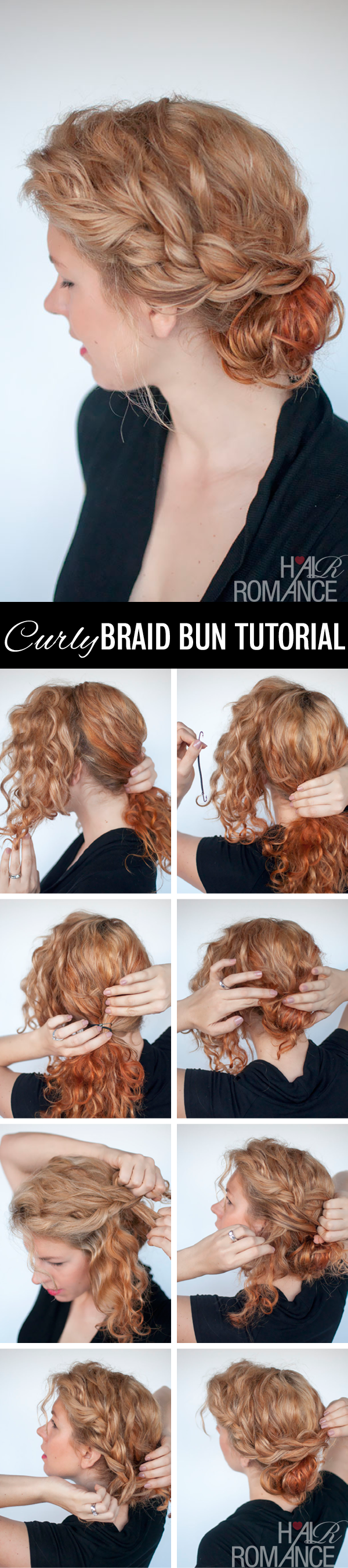 Hair Romance - curly braid bun hair tutorial