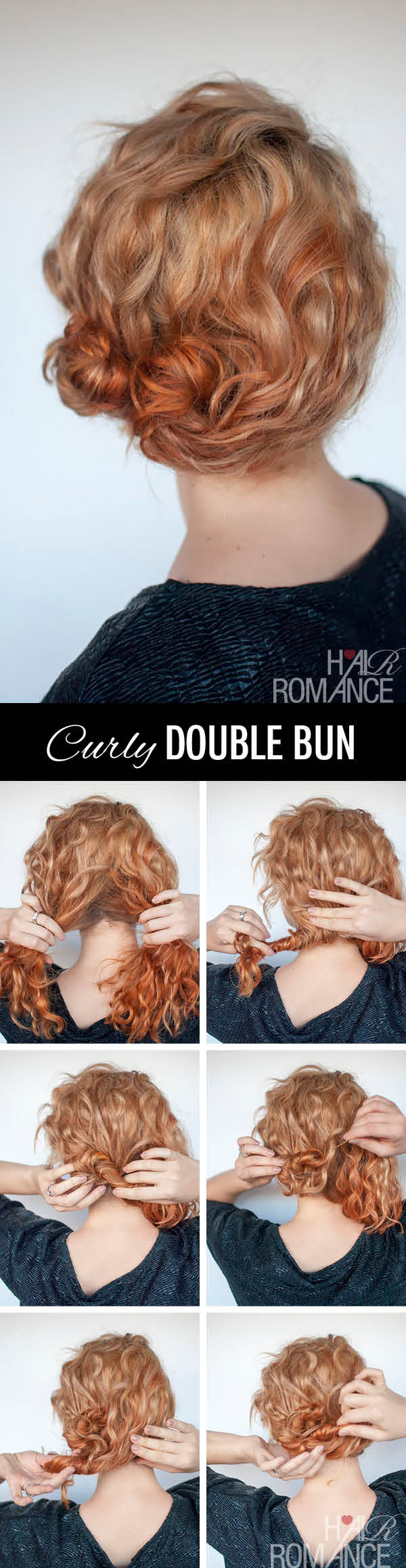 Hair Romance - curly double bun hairstyle tutorial