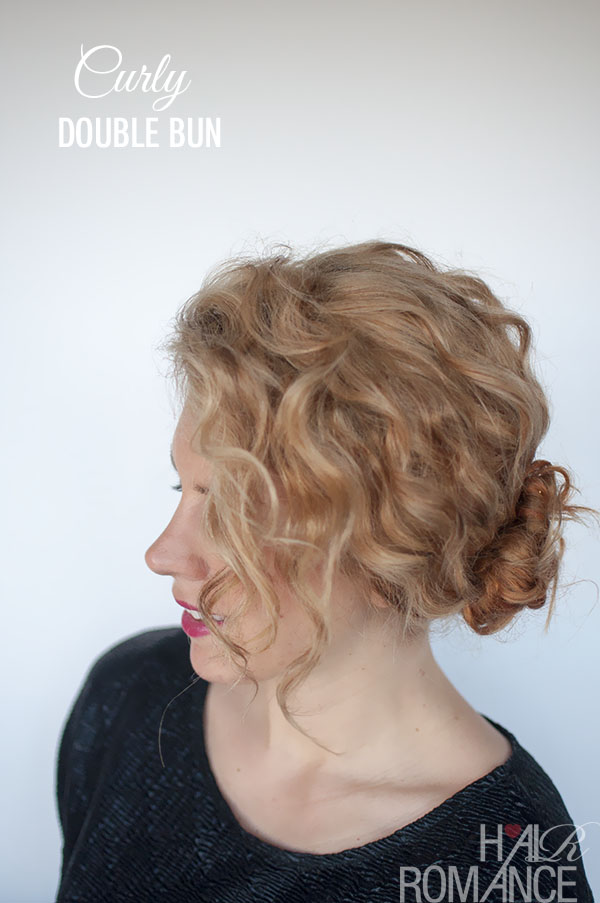 Hairstyle tutorial for curly hair - the double bun - Hair Romance