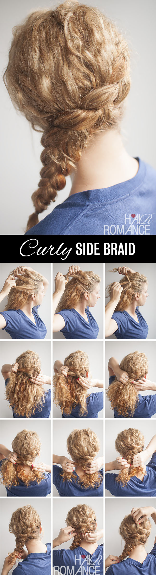 Hair Romance - Curly side braid hairstyle tutorial