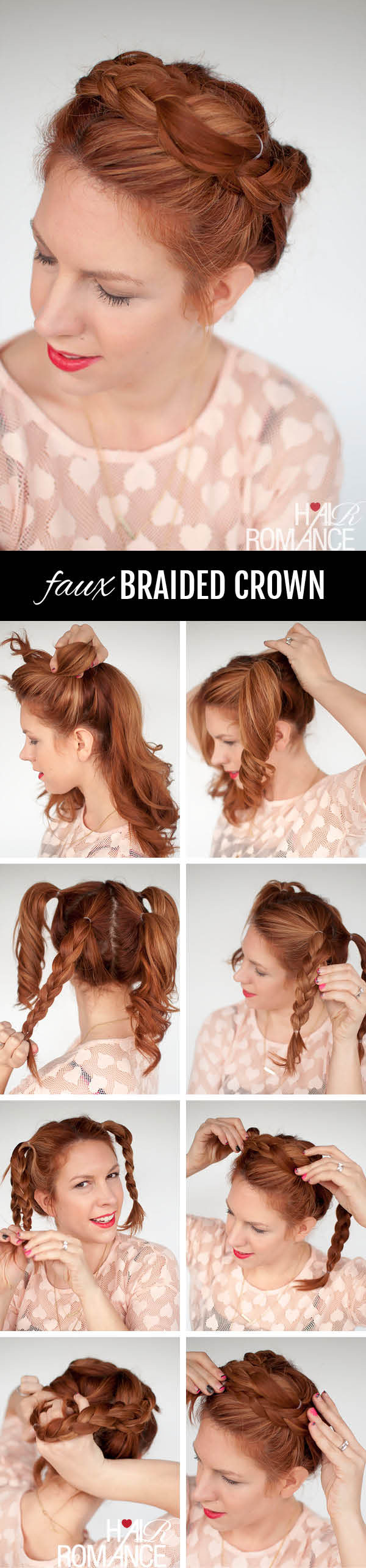 Hair Romance - Braid cheat - Faux braided crown hairstyle tutorial. Click through for full tutorial.