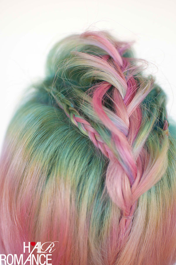 Hair Romance - Unicorn hair and faux hawk braids 6