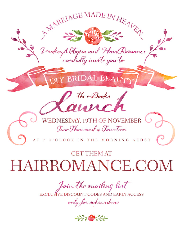 Hair Romance - DIY Bridal hair & beauty books launch invite