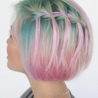 Waterfall braid in short hair