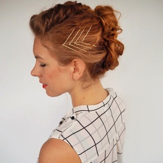 Hair Romance - #gingertwin - mohawk French braid updo