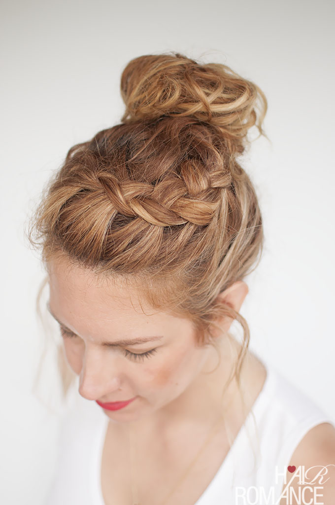 ... Everyday curly hairstyles - Curly Braided Top Knot Hairstyle Tutorial