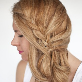 Hair Romance - Lace braid side swept hairstyle tutorial 2