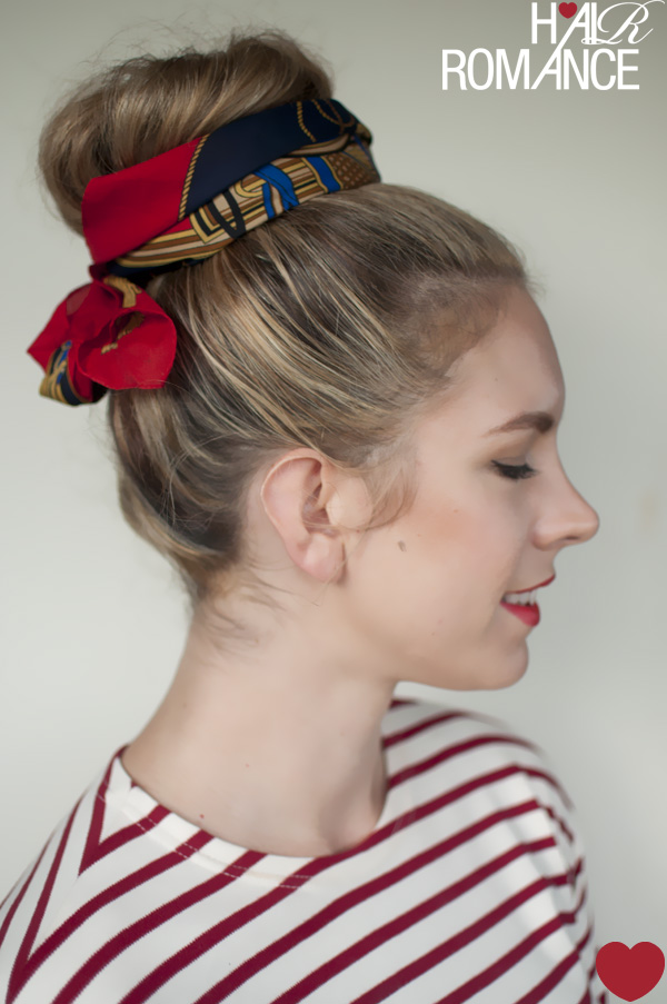 5 Ways To Wear A Scarf And A Top Knot 5 Put A Bow On It Hair