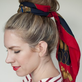 5 ways to wear a scarf and top knot – 2 – the sash