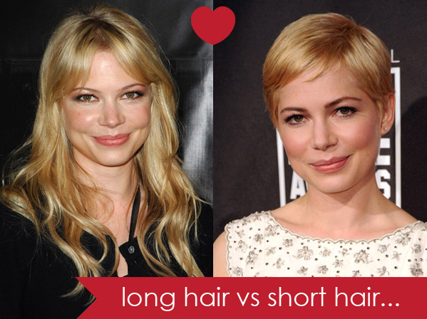 Image result for short hair vs long hair girls