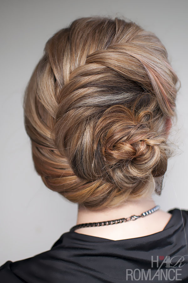 Hair Romance - French fishtail braided chignon tutorial