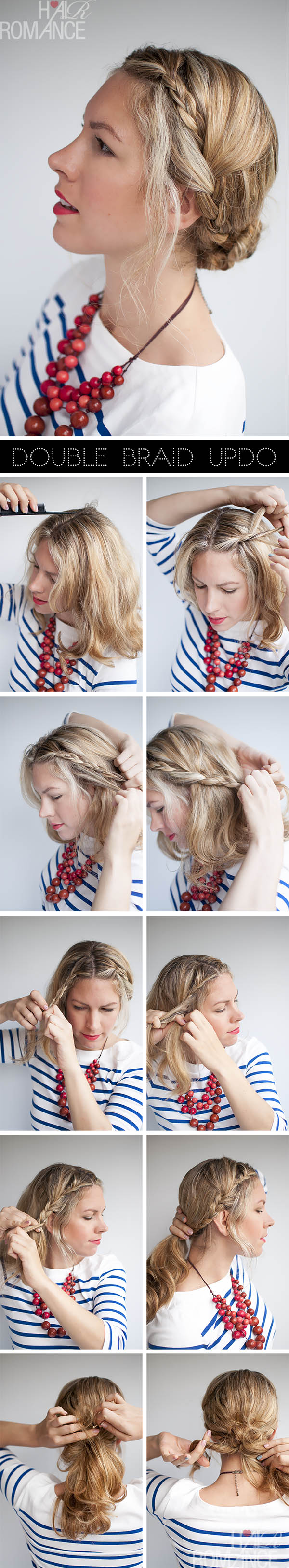 Double Braid Updo Tutorial by Hair Romance