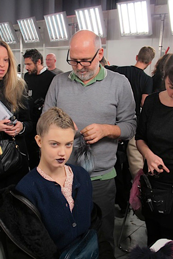 Sam McKnight backstage at Fendi