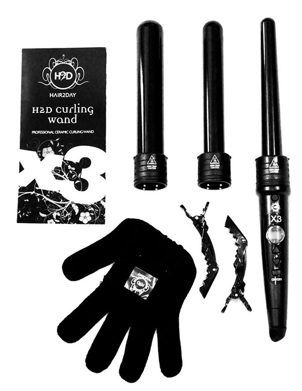 H2D Hair2Day Professional Curling Wand with 3 wands