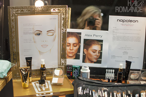 Face charts for Alex Perry backstage
