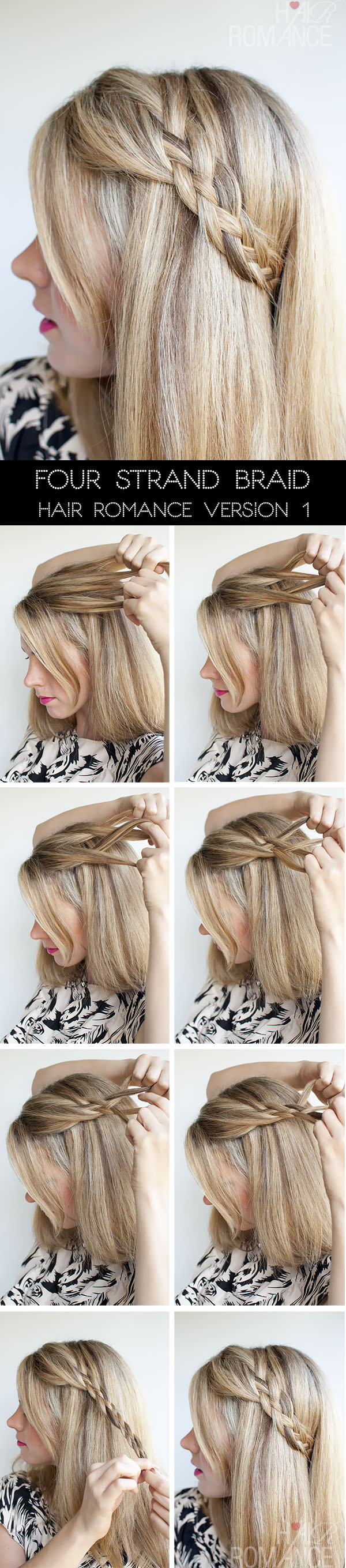 Hair Romance - 4 Strand Braid Tutorial - version 1