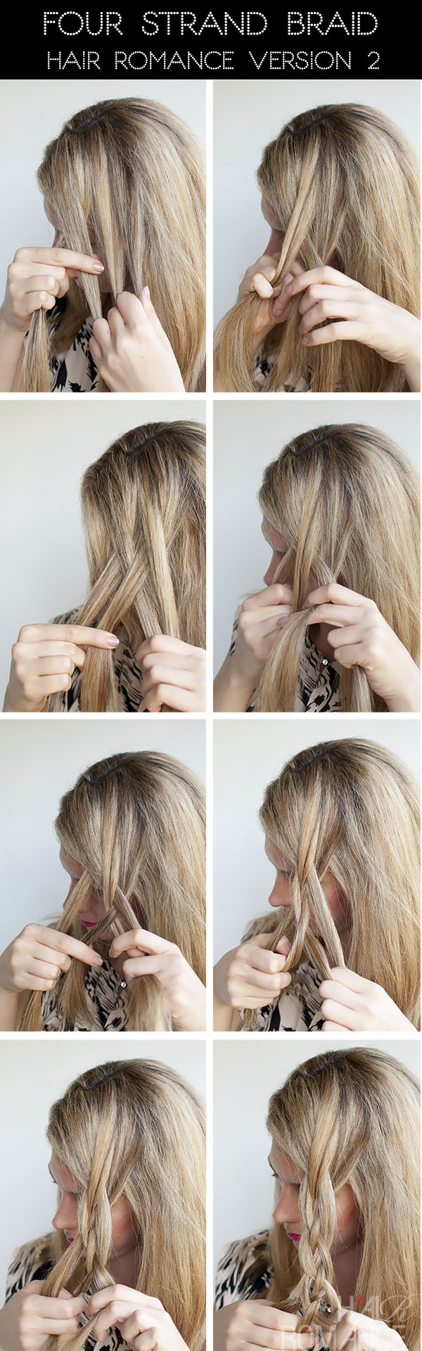 hair styles braids step by step hairstyle tutorial four strand braids and slide up 3373