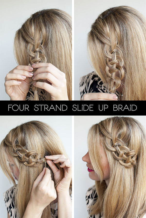 Hair Romance - 4 strand slide up braid tutorial - version 2