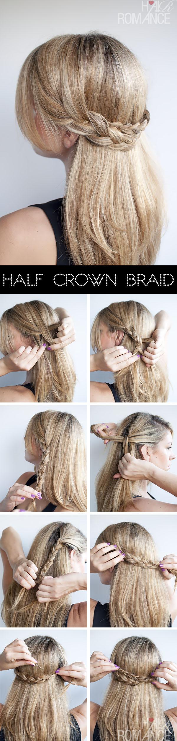 Hairstyle tutorial - Half crown braid - Hair Romance