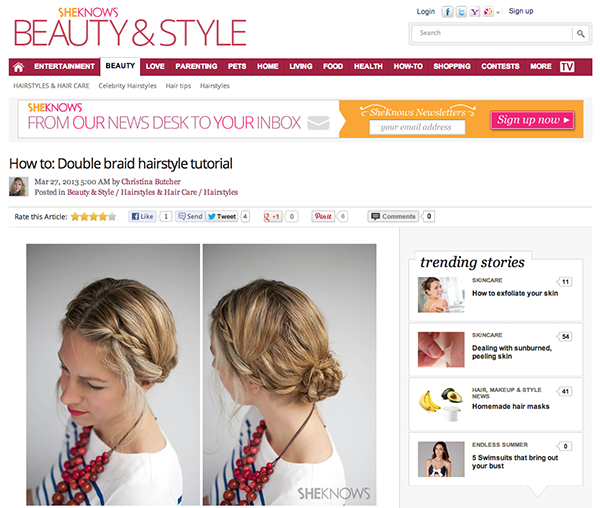 Hair Romance on She Know - runway inspired double braid hairstyle