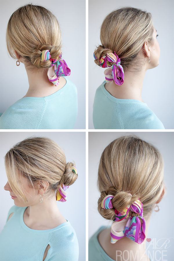 Hair Romance - 30 Buns in 30 Days - Day 10 - Scarf Braid Bun Hairstyle