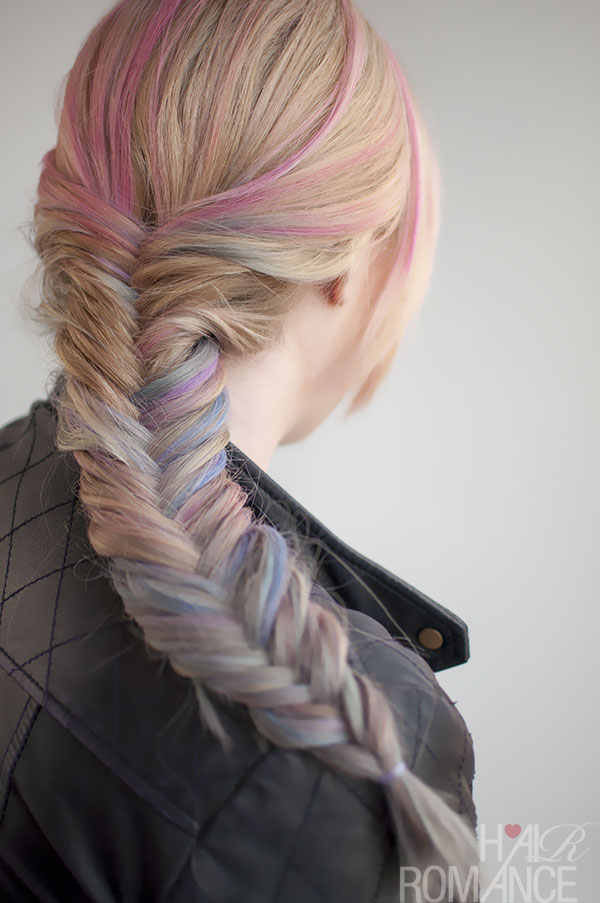 Hair Romance - hair chalk temporary colour and fishtail braid