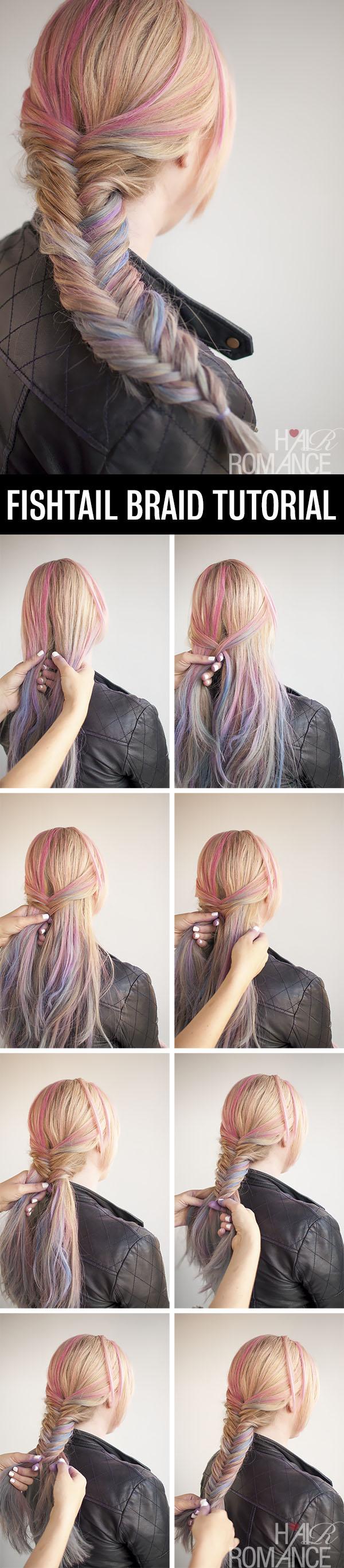 Hair Romance - Fishtail braid hairstyle tutorial with hair chalk