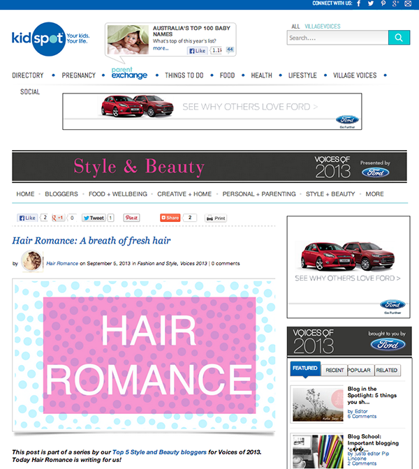 Hair Romance on kidspot - tops 5 style and beauty bloggers
