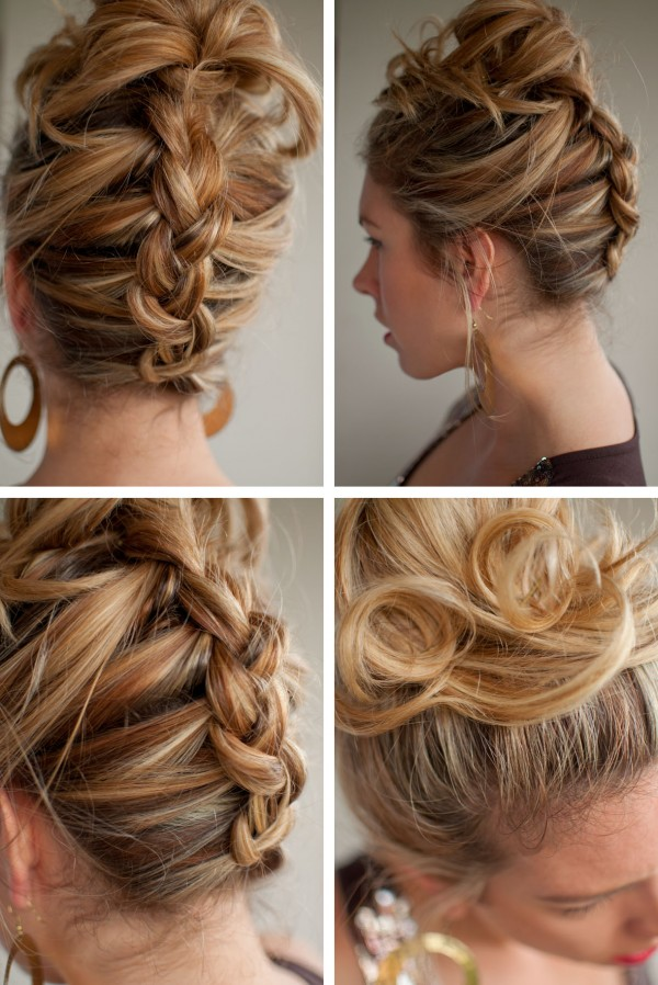 braided reverse ponytail hairstyle collage