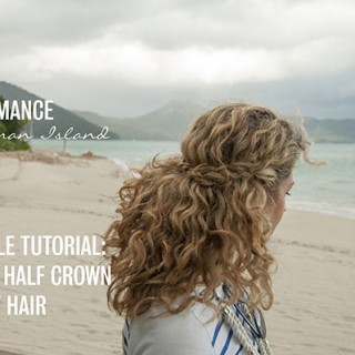 2 min hairstyle – half crown braid in curly hair – video tutorial