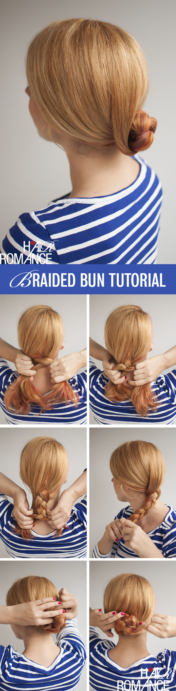 Hair Romance - Easy braided bun hair tutorial