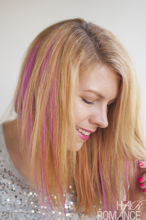 Woman With Curly Creamy Blonde Hair Hot Pink Chalk