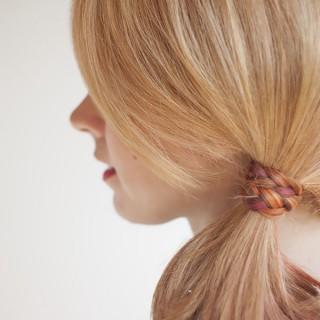 Braid-wrapped ponytail tutorial on The Freckled Fox