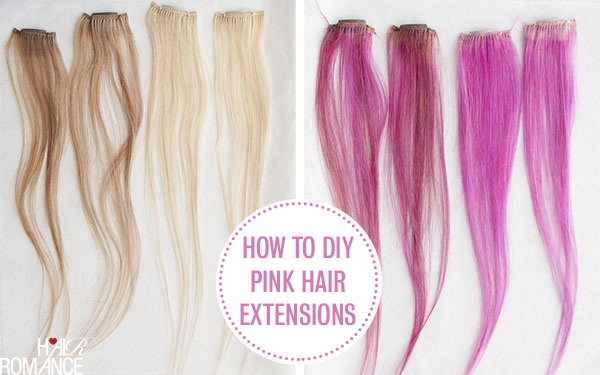 Hair Romance - before and after - DIY pink hair extensions