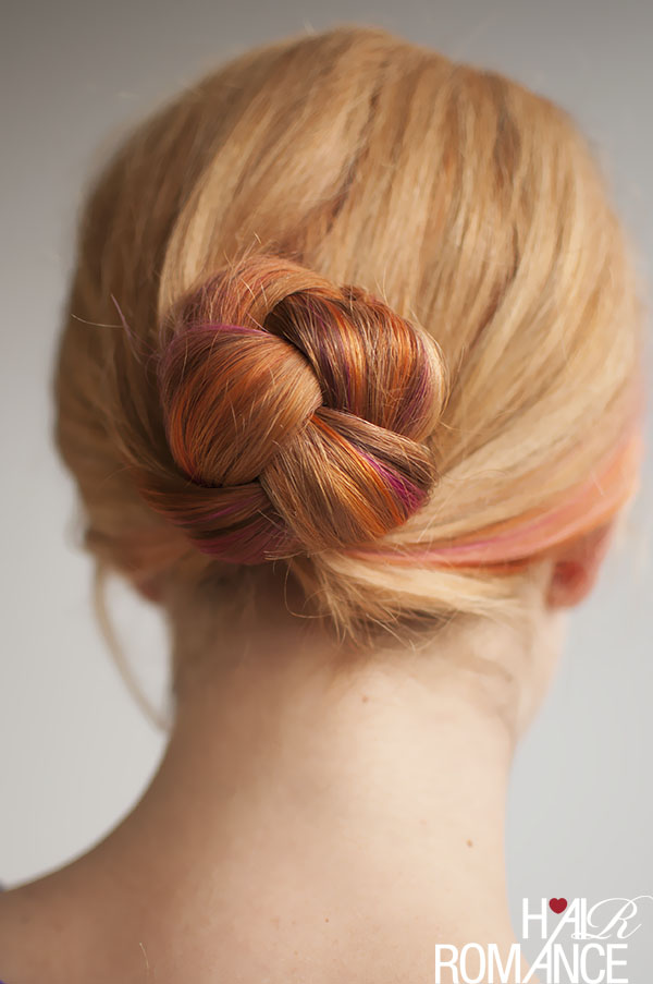 Hair Romance - easy braided bun with new hair colours