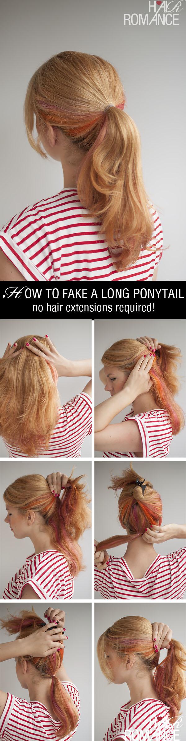Hair Romance - how to fake a long ponytail hair tutorial