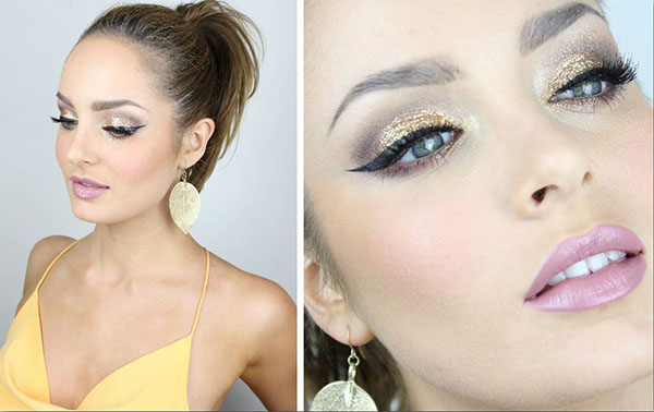 Glittery holiday makeup tutorial - Chloe Morello