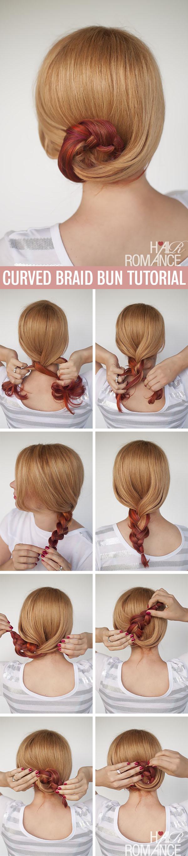 Hair Romance - Curved braid bun hairstyle tutorial